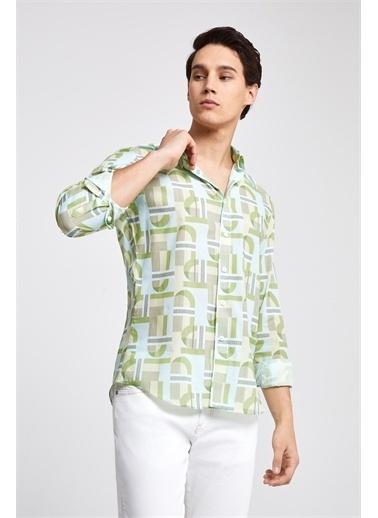 TWN Slim Fit Baskılı Vual Gömlek Yeşil